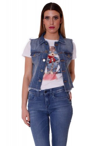 "GILET IN DENIM STRETCH ""MYSIDE"""