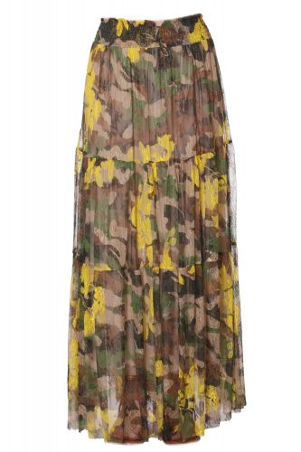 "GONNA LUNGA IN PIZZO CAMOUFLAGE ""ERMANNO"""